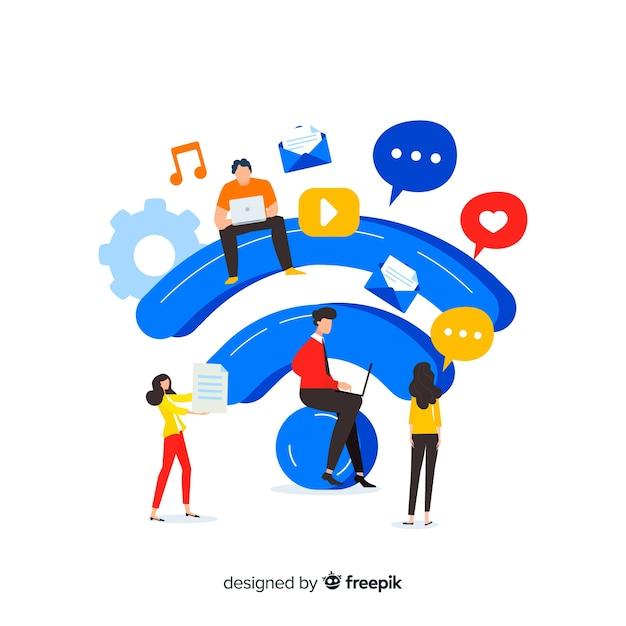 Concept De Zone Wifi Plat Avec Signal Vecteur gratuit