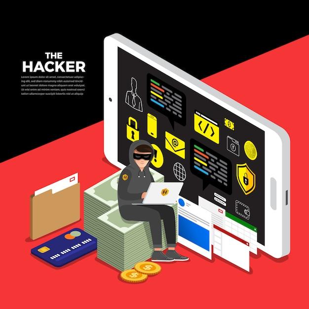 Concepteur de concept plat concept pirate cyber voleur sur le périphérique internet. Vecteur Premium
