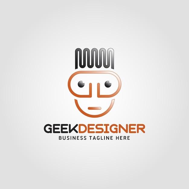 Concepteur de geek - modèle de lettre de gd de lettre humaine Vecteur Premium