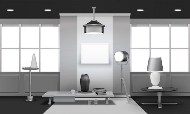 Conception 3d d'intérieur de loft réaliste Vecteur gratuit