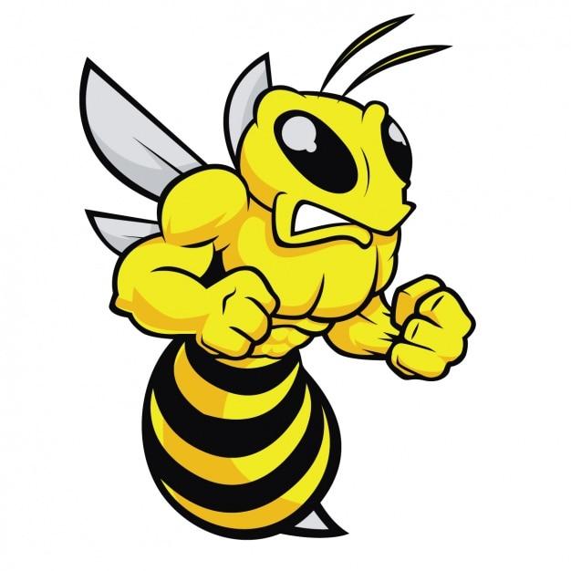 Conception d'abeille en colère Vecteur gratuit