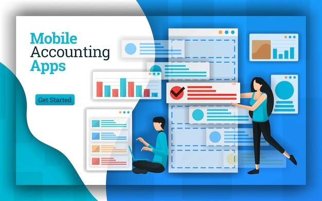 Conception abstraite d'applications de comptabilité mobiles Vecteur Premium