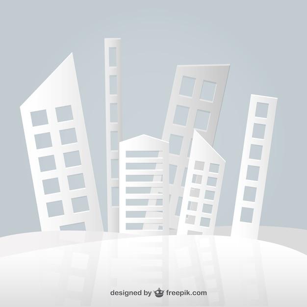Conception abstraite de bâtiments de papier Vecteur gratuit