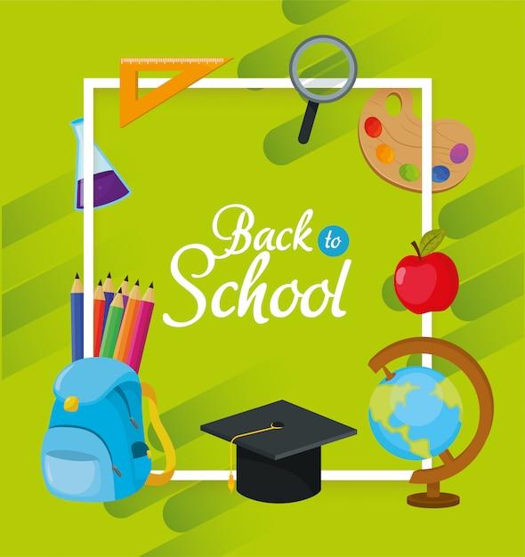 Conception d'accessoires pour l'enseignement scolaire à étudier Vecteur Premium