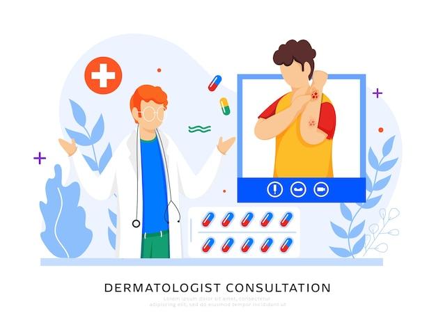Conception D'affiche Basée Sur Le Concept De Consultation De Dermatologue, Patient De Dessin Animé Interagissant Sur Appel Vidéo Avec Docteur Homme. Vecteur Premium