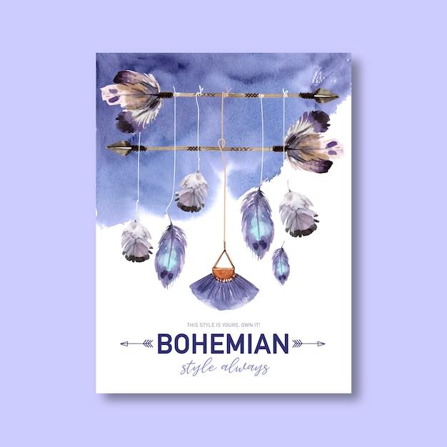 Conception D'affiche Bohème Avec Plume, Illustration Aquarelle De Flèche. Vecteur gratuit