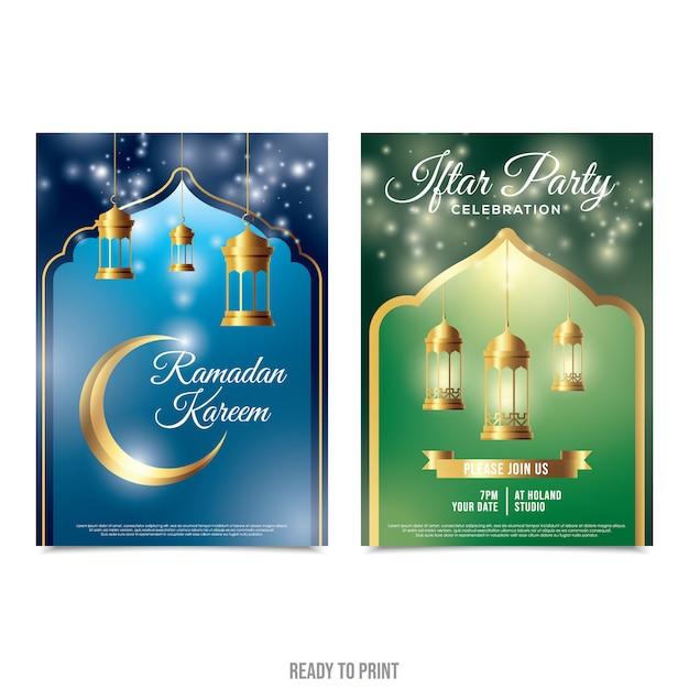 Conception d'affiche de célébration du ramadan. prêt à imprimer Vecteur Premium