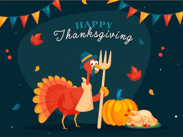 Conception D'affiche De Célébration De Thanksgiving Heureux Avec Oiseau De Dinde De Dessin Animé Vecteur Premium