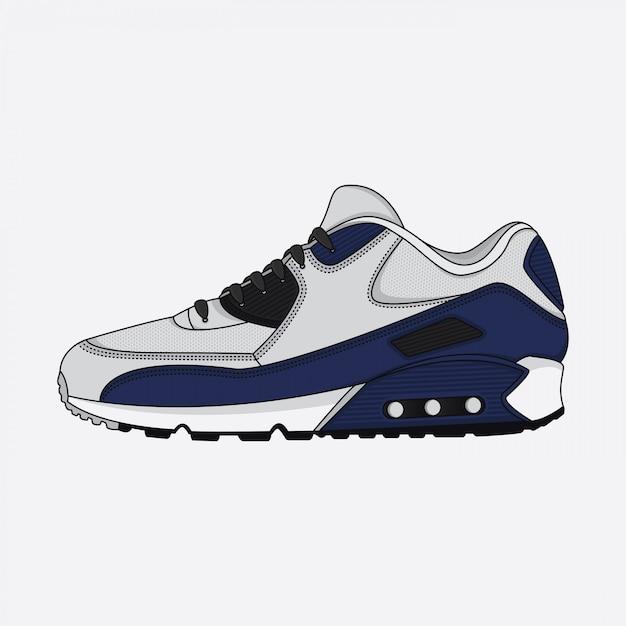 Conception d'affiche de chaussures de sport Vecteur Premium