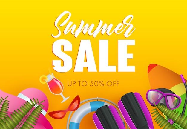 Conception d'affiche colorée de vente d'été. bouée de sauvetage Vecteur gratuit
