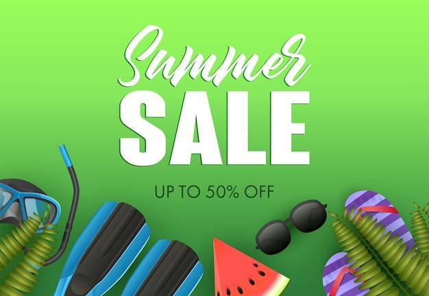 Conception d'affiche colorée de vente d'été. palmes Vecteur gratuit