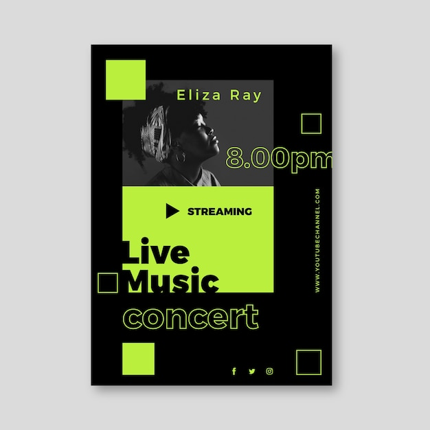 Conception D'affiche De Concert De Musique En Streaming En Direct Vecteur gratuit
