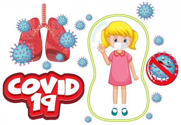 Conception D'affiche De Coronavirus Avec Une Fille Malade Portant Un Masque Vecteur gratuit