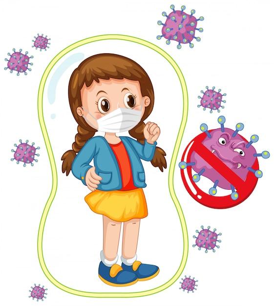 Conception D'affiche De Coronavirus Avec Fille Portant Un Masque Vecteur gratuit
