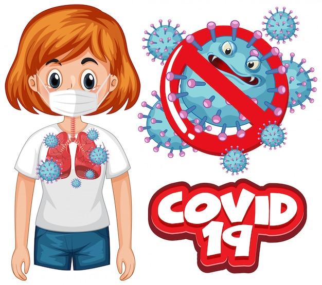 Conception D'affiche De Coronavirus Avec Mot Covid 19 Et Mauvais Poumons Vecteur gratuit
