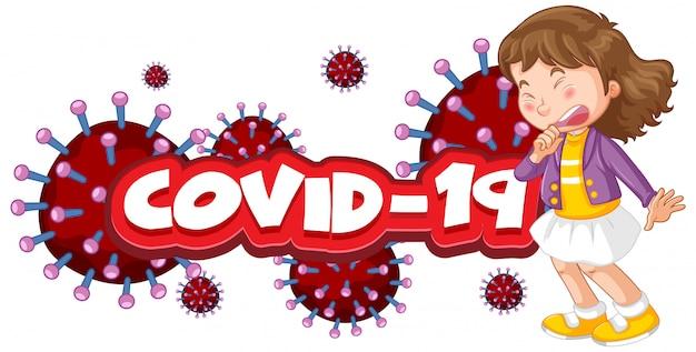 Conception D'affiche De Coronavirus Avec Mot Et Toux De Fille Malade Vecteur gratuit