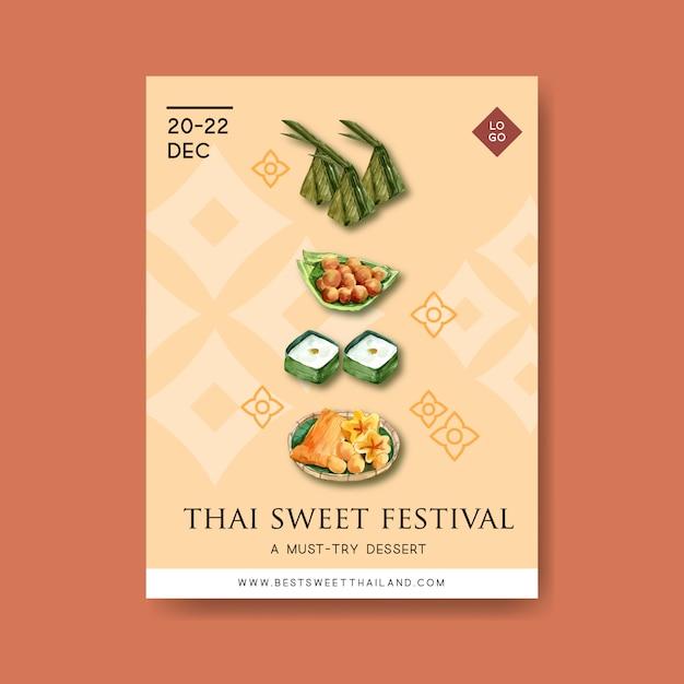 Conception D'affiche Douce Thaïlandaise Avec Pudding, Aquarelle D'illustration De Fils D'or. Vecteur gratuit
