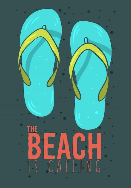 Conception D'affiche D'été De Plage Avec Des Tongs Pantoufles Chaussures De Plage Illustrations Dessinées à La Main. Vecteur Premium