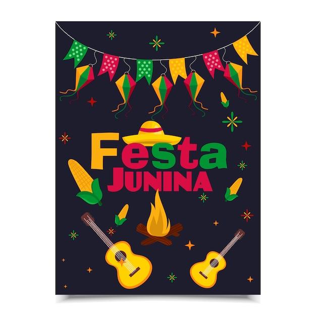 Conception de l'affiche festa junina Vecteur Premium