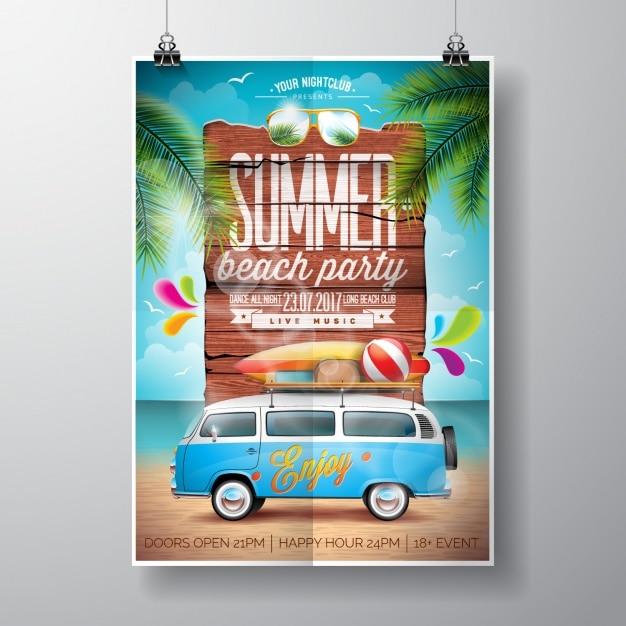 Conception de l'affiche de fête d'été Vecteur gratuit