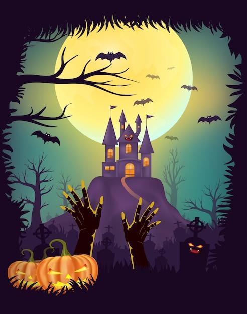 Conception d'affiche happy halloween Vecteur Premium