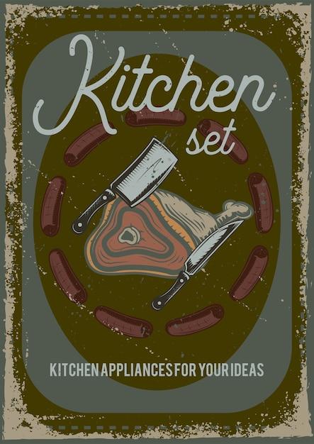 Conception D'affiche Avec Illustration D'un Morceau De Viande Et D'un Couteau. Vecteur gratuit