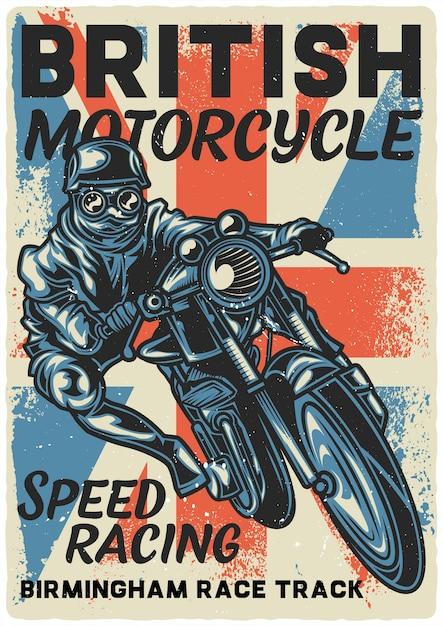 Conception De L'affiche Avec Illustration De Motard Sur Moto Vecteur Premium