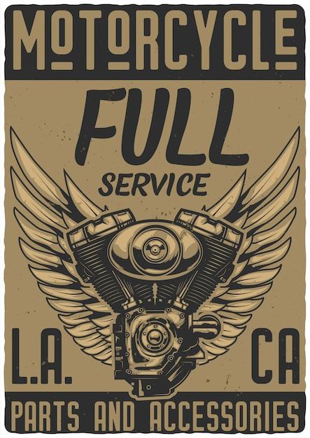 Conception de l'affiche avec des illustrations du moteur de la moto et des ailes Vecteur Premium