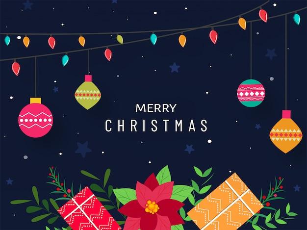 Conception D'affiche Joyeux Noël Avec Coffrets Cadeaux, Fleur De Poinsettia, Boules De Guirlande D'éclairage Coloré Accroché Sur Fond Bleu. Vecteur Premium