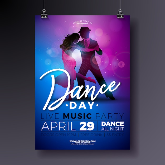 Conception d'affiche party dance day avec couple dansant le tango Vecteur Premium