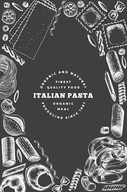 Conception d'affiche de pâtes italiennes. main dessinée illustration de nourriture vectorielle à bord de la craie. style gravé Vecteur Premium