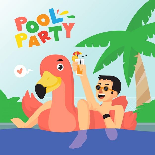 Conception d'affiche pool party boy Vecteur Premium