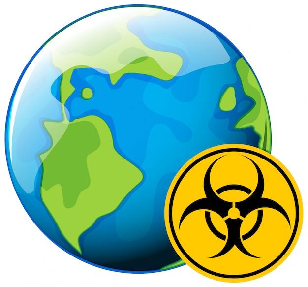 Conception D'affiche Pour Le Thème Des Coronavirus Avec Signe De Danger Biologique Sur Terre Vecteur gratuit