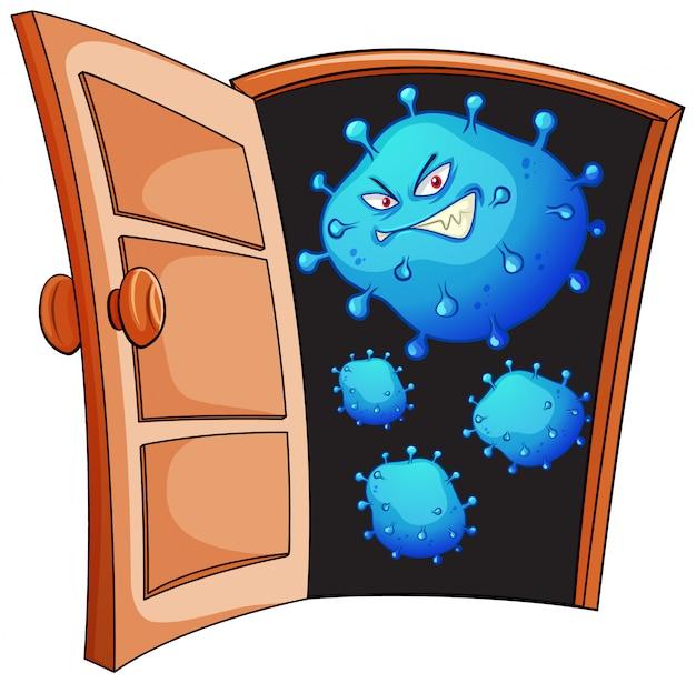 Conception D'affiche Pour Le Thème Du Coronavirus Avec Des Cellules Virales à La Porte Vecteur gratuit