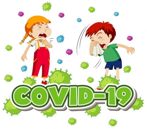 Conception D'affiche Pour Le Thème Du Coronavirus Avec Deux Enfants Malades Vecteur gratuit