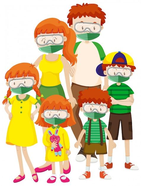Conception D'affiche Pour Le Thème Du Coronavirus Avec Un Masque De Famille Portant Vecteur Premium