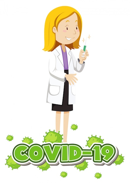 Conception D'affiche Pour Le Thème Du Coronavirus Avec Médecin Et Vaccin Vecteur gratuit