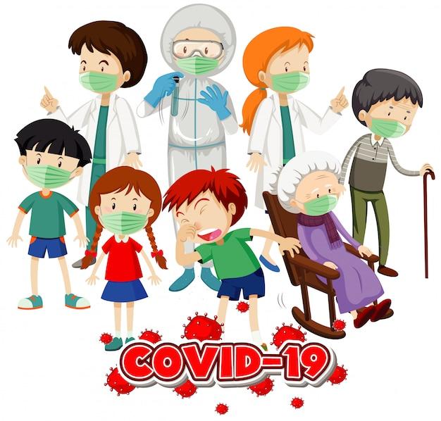 Conception D'affiche Pour Le Thème Du Coronavirus Avec De Nombreux Malades à L'hôpital Vecteur Premium