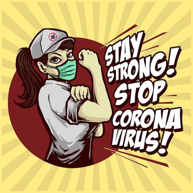 Conception D'affiche Restez Fort Stop Corona Virus Vecteur Premium