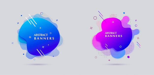 Conception d'affiche de vente de bannières de forme liquide de style moderne Vecteur Premium