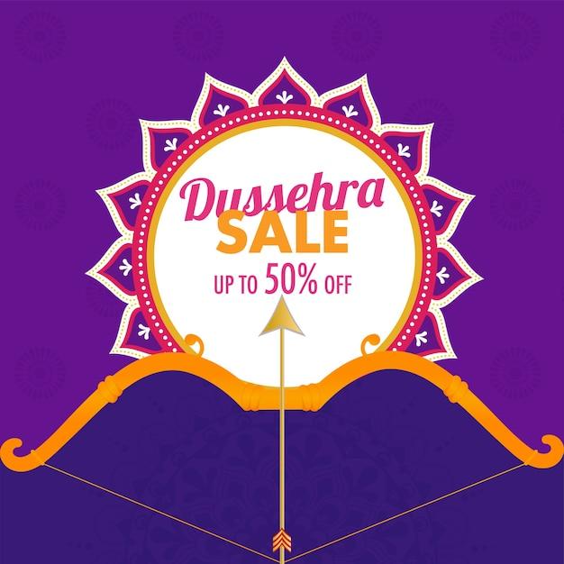 Conception D'affiche De Vente Dussehra Avec Illustration De Flèche D'arc Vecteur Premium