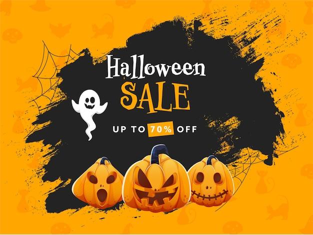 Conception D'affiche De Vente D'halloween Avec Une Offre De Réduction De 70% Vecteur Premium