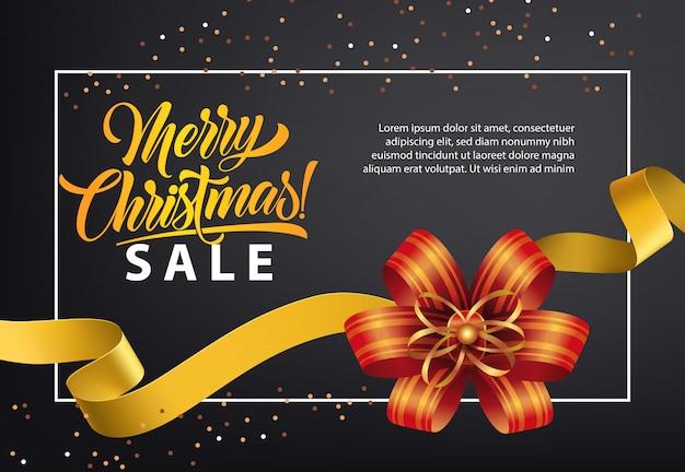 Conception d'affiche de vente de noël. arc rouge, ruban d'or Vecteur gratuit