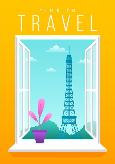 Conception D'affiche De Voyage De Paris Illustrée Vecteur gratuit