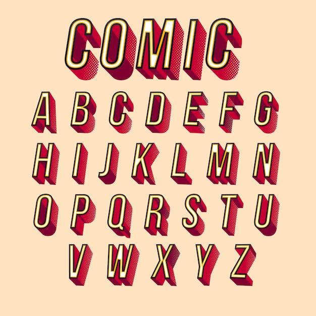 Conception D'alphabet Comique 3d Vecteur gratuit