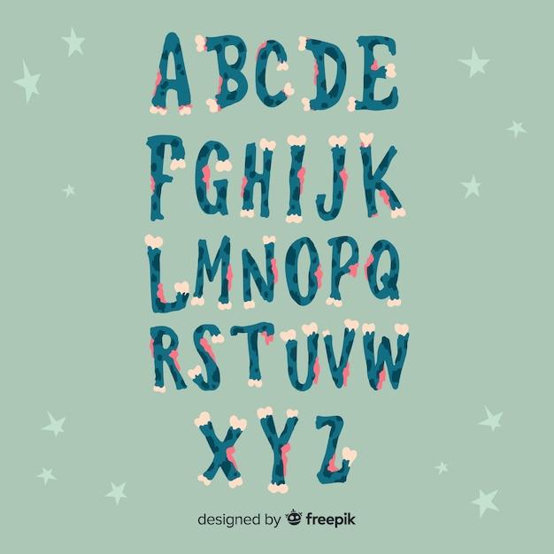 Conception D'alphabet D'halloween Vecteur gratuit