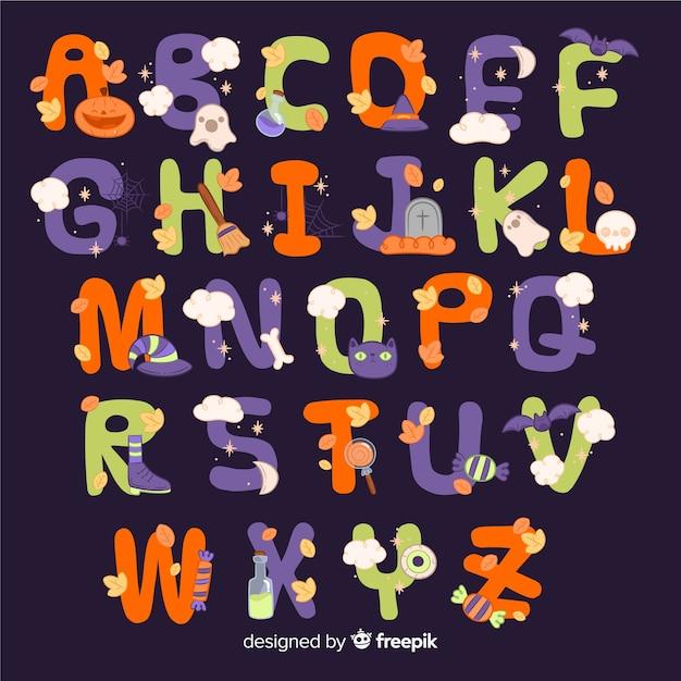 Conception de l'alphabet halloween Vecteur gratuit