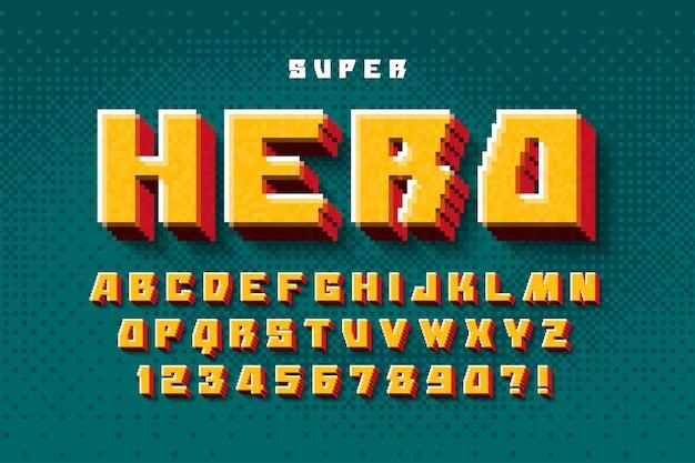 Conception D'alphabet Pixel, Stylisée Comme Dans Les Jeux 8 Bits. Vecteur Premium