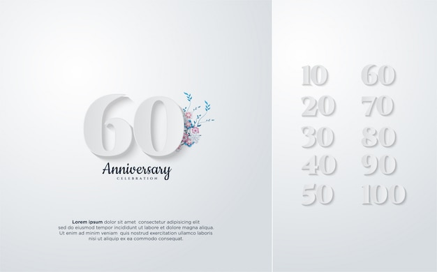 Conception D'anniversaire Avec Illustration De Nombres En Blanc Avec Des Fleurs. Vecteur Premium