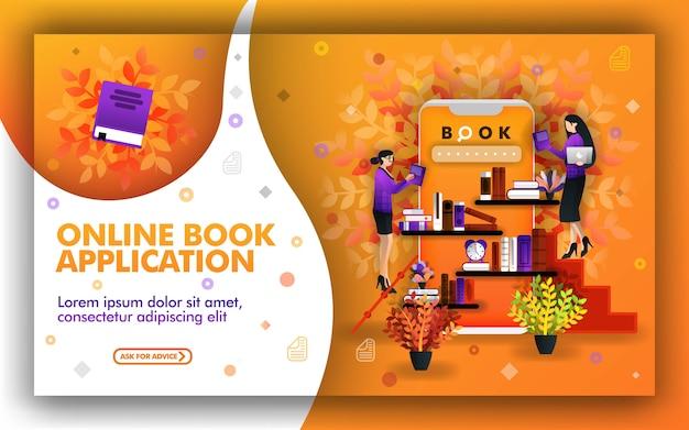 Conception d'applications en lisant des livres, des livres électroniques ou des bibliothèques en ligne Vecteur Premium
